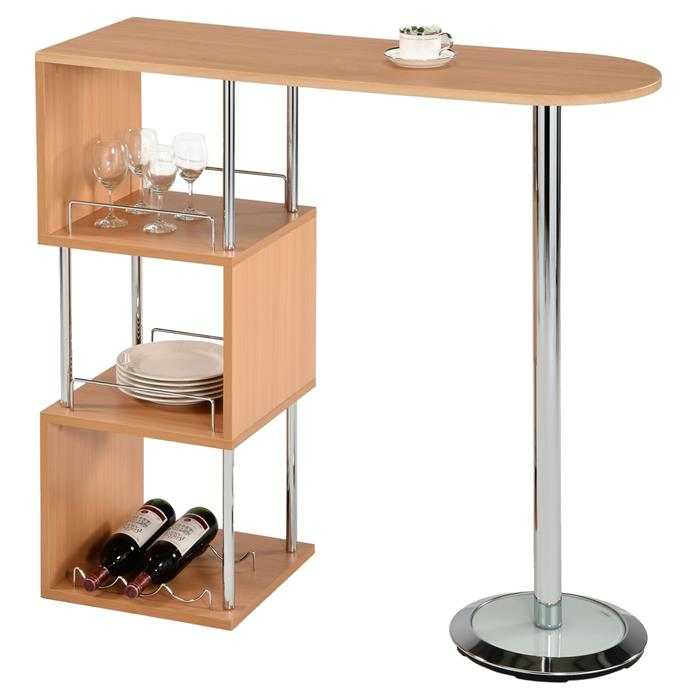 Table haute de bar VIGANDO, couleur hêtre