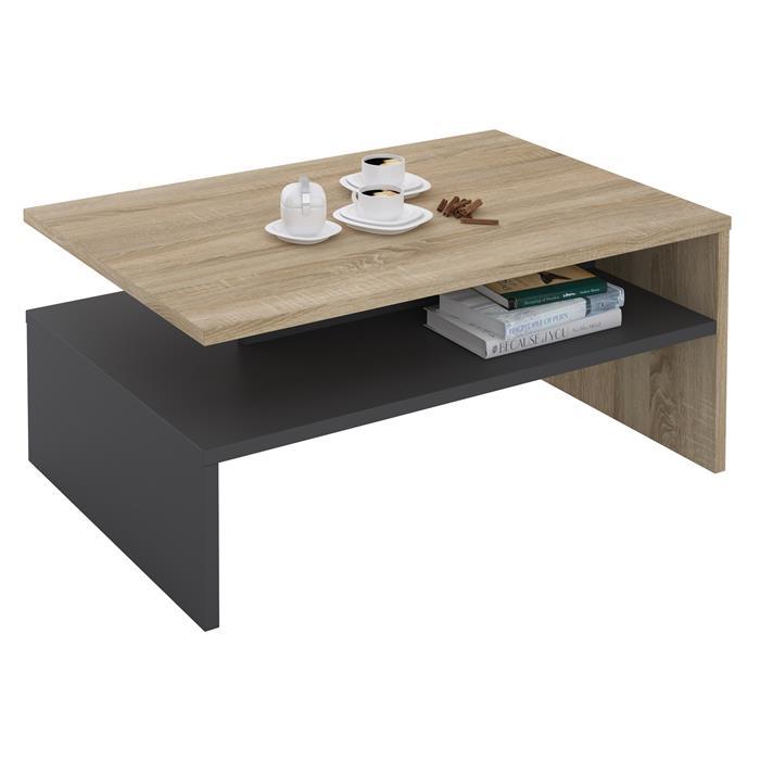 Table basse ADELAIDE, en mélaminé décor chêne sonoma et gris mat