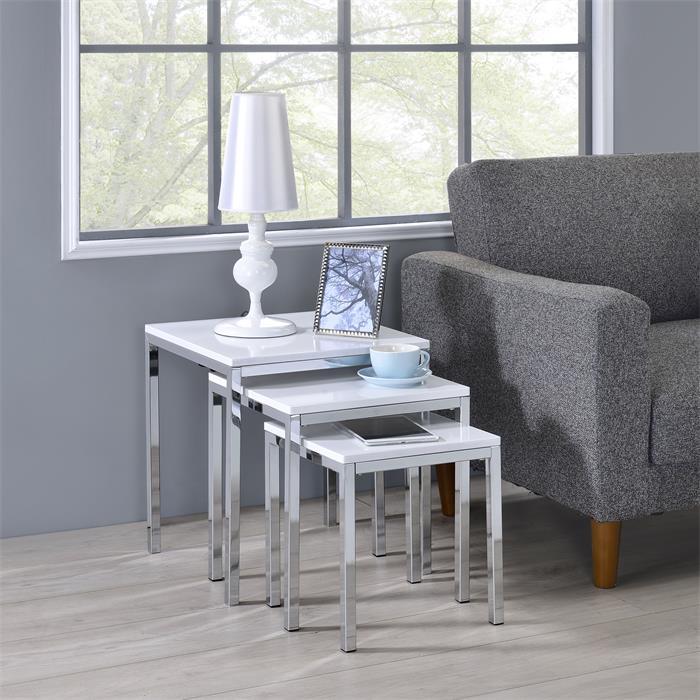 Lot de 3 tables gigognes LUNA, en métal chromé et décor blanc brillant