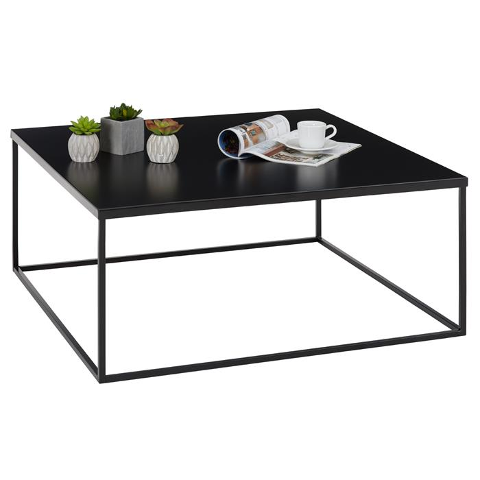 Table basse carré HILAR, cadre et plateau en métal laqué noir