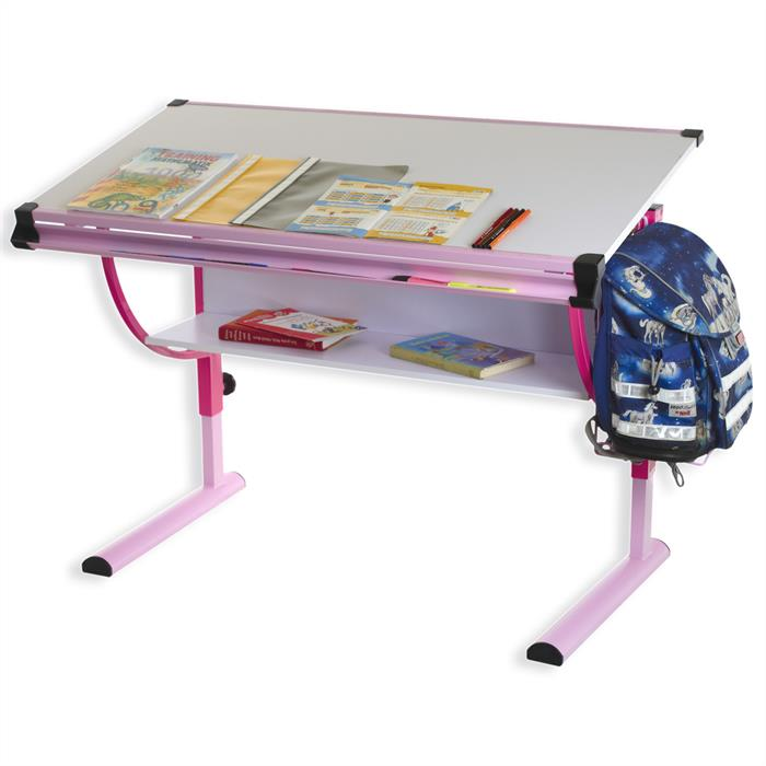 Bureau enfant CARINA, réglable en hauteur et plateau inclinable, blanc et rose