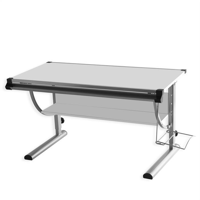 Bureau enfant CINDY, réglable en hauteur et plateau inclinable, blanc et gris