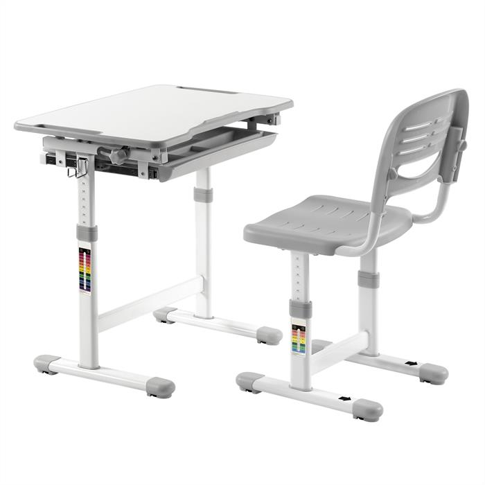 Ensemble bureau et chaise pour enfant ALUMNO, gris
