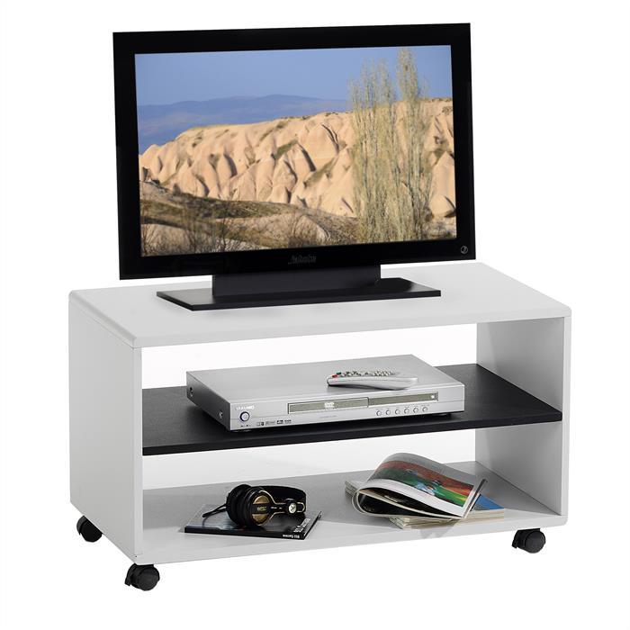 Meuble tv atlanta blanc noir mobil meubles for Meuble tv blanc noir