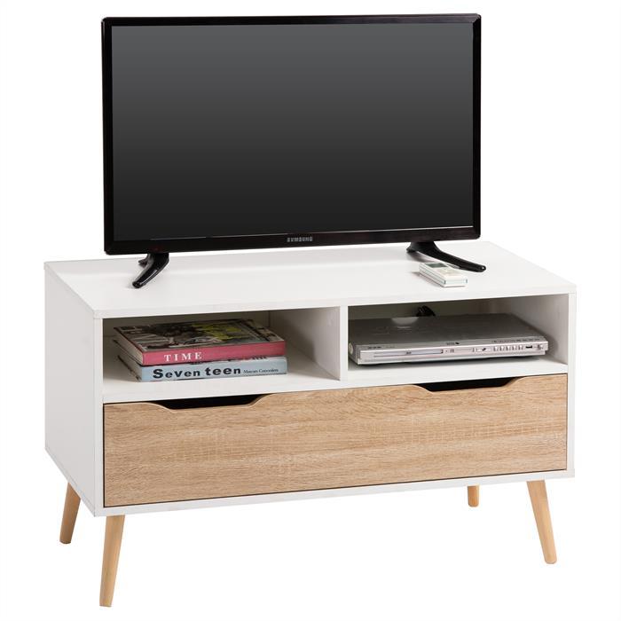Meuble TV GENOVA, blanc mat et chêne sonoma