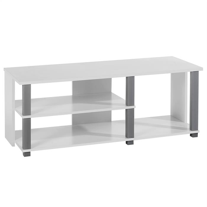 Meuble tv denver blanc et gris mobil meubles for Meuble blanc sejour