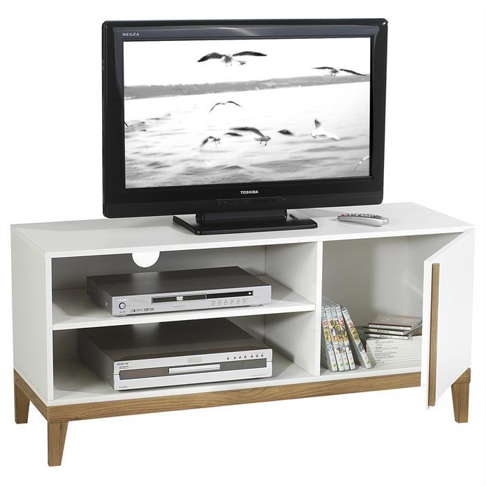 Meuble tv riga 2 niches 1 porte blanc et bois mobil for Meuble tv blanc et bois
