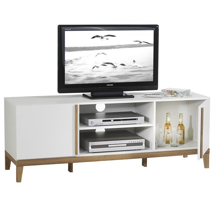 Meuble TV RIGA, 2 niches 2 portes blanc et bois