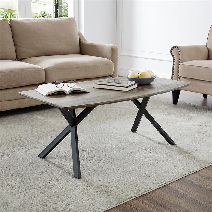 Table basse ASSUAN, pieds en métal noir et décor chêne sauvage