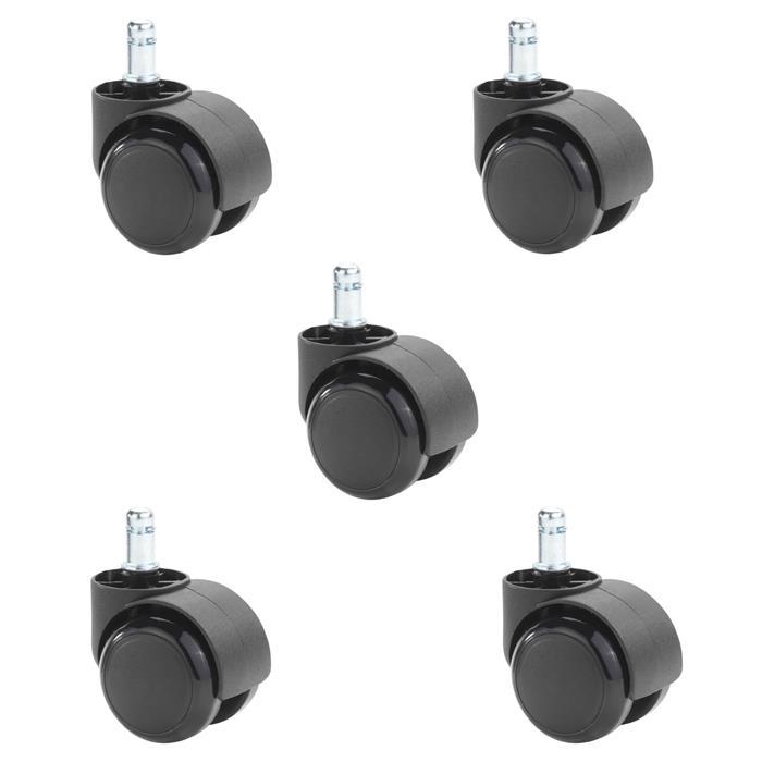 Lot de 5 roulettes en plastique noir pour sol dur