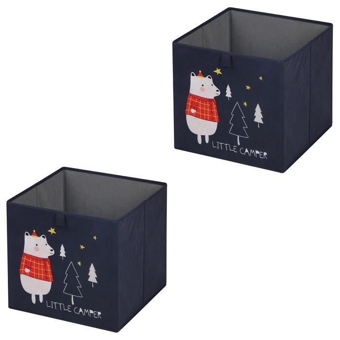 Lot de 2 boîtes de rangement BEAR, en tissu bleu foncé