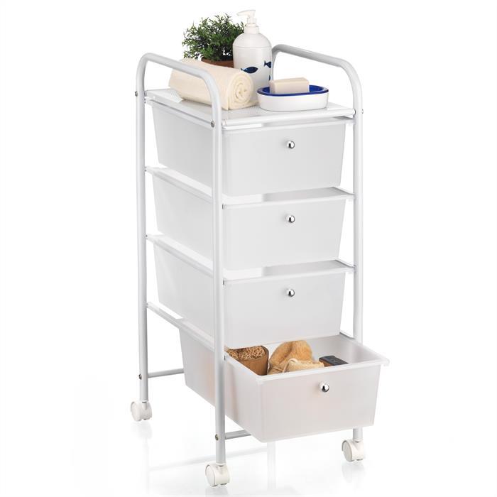 caisson sur roulettes gina 4 tiroirs blanc mobil meubles. Black Bedroom Furniture Sets. Home Design Ideas