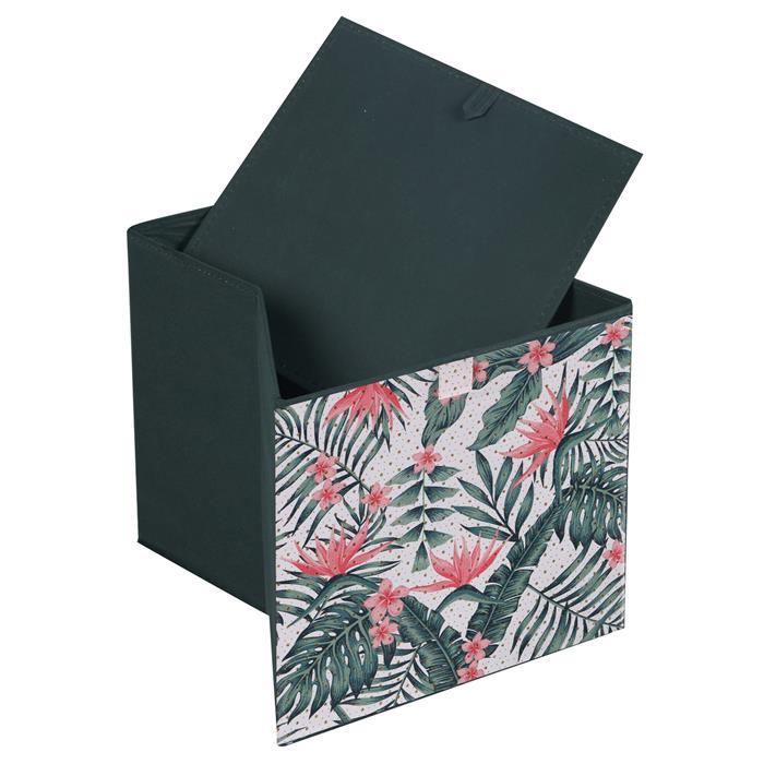 Lot de 2 boîtes de rangement TROPICAL, en tissu vert