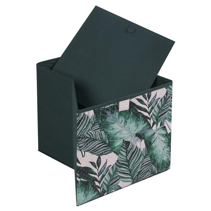 Lot de 2 boîtes de rangement JUNGLE, en tissu vert