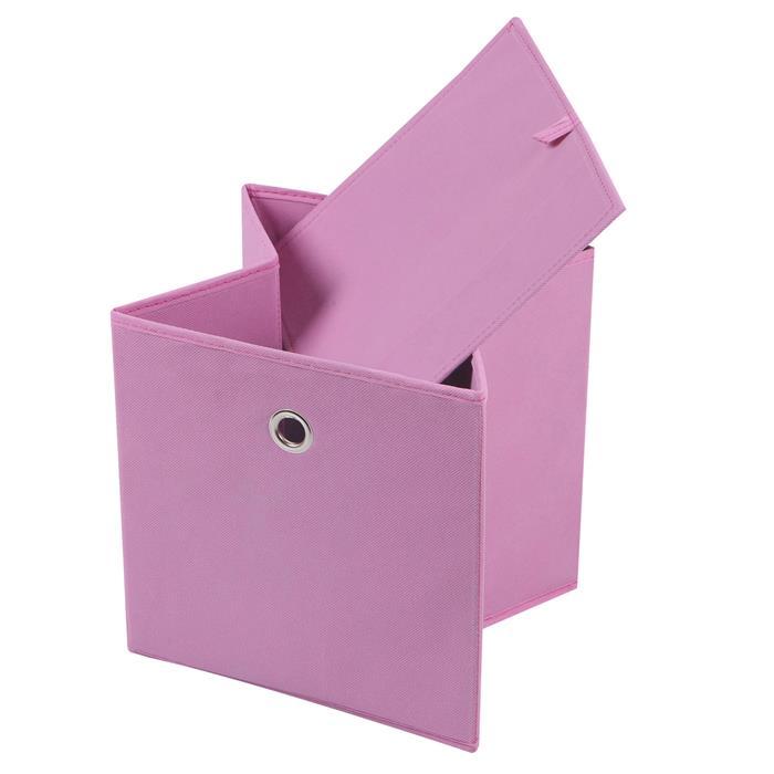 Lot de 2 boîtes de rangement ELA, en tissu rose