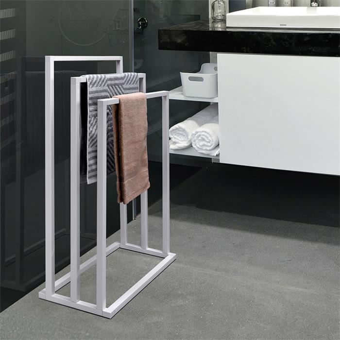 Porte-serviettes KUNO, en métal laqué blanc