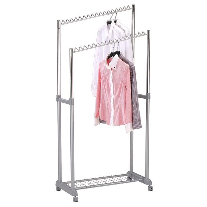 Portant à vêtements MONA, en métal chromé et gris