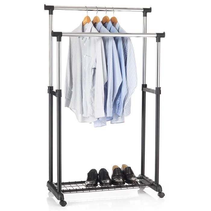 Portant à vêtements GROSSO, en métal chromé et noir