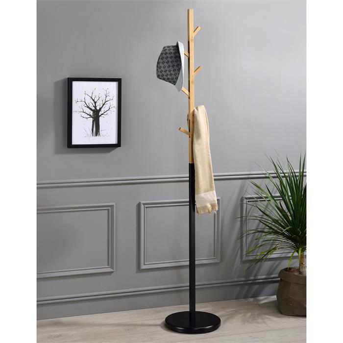 Porte-manteaux AVIGNON, en métal laqué noir et bambou