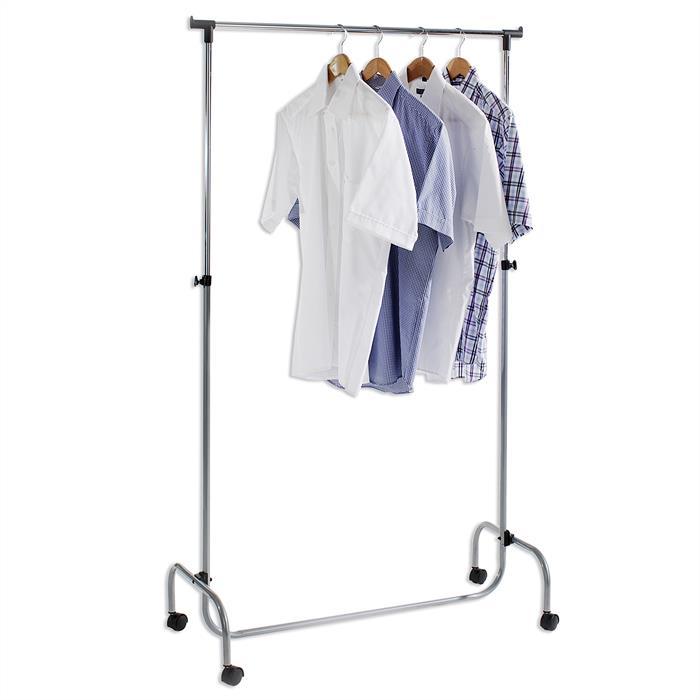 Portant à vêtements TIGER, en métal chromé et couleur aluminium