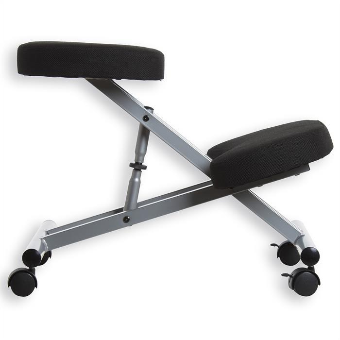 Tabouret ergonomique ROBERT, couleur aluminium/noir