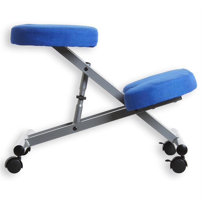 Tabouret ergonomique ROBERT, couleur aluminium/bleu