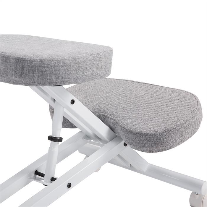Tabouret ergonomique ROBERT, blanc/gris
