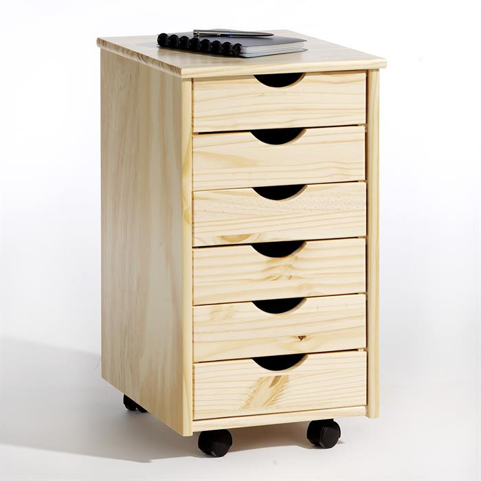 caisson de bureau sur roulettes lagos 6 tiroirs vernis naturel mobil meubles. Black Bedroom Furniture Sets. Home Design Ideas