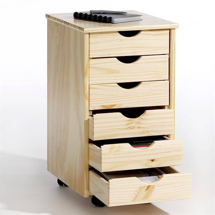 Caisson de bureau sur roulettes LAGOS, vernis naturel