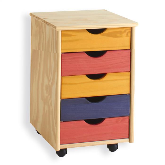 Caisson de bureau sur roulettes LAGOS, 5 tiroirs, lasuré multicolore