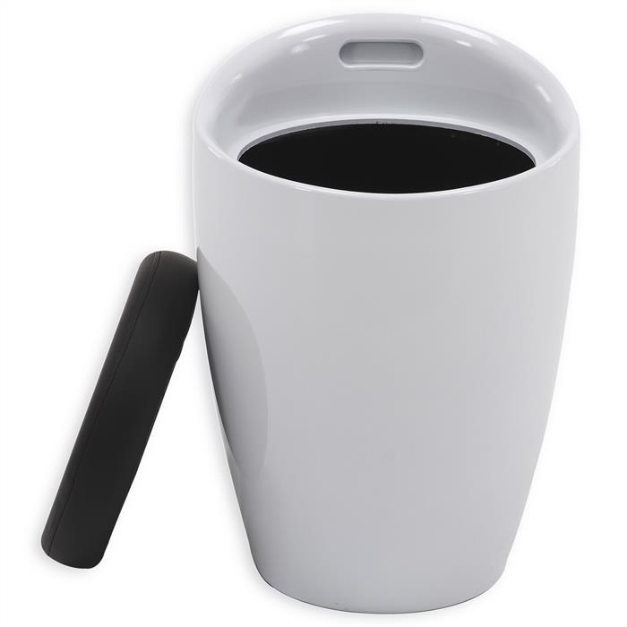 Tabouret coffre de rangement DANIEL, blanc/noir