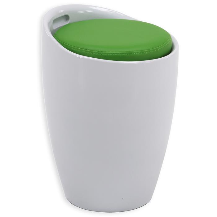 Tabouret coffre de rangement DANIEL, blanc/vert
