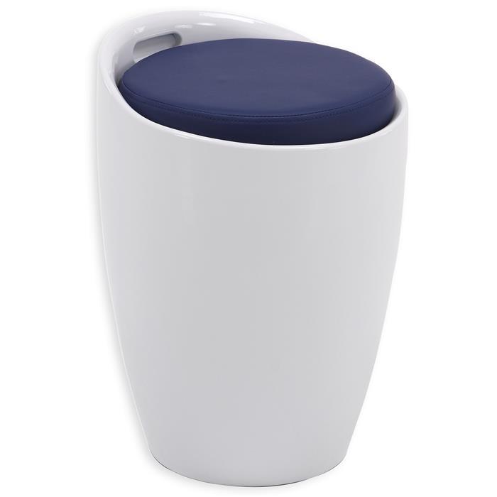 Tabouret coffre de rangement DANIEL, blanc/bleu