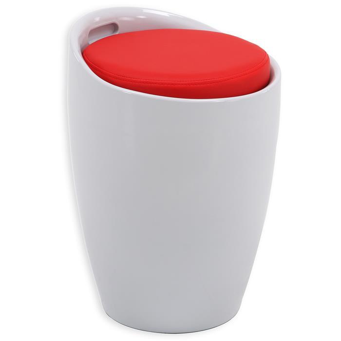 Tabouret coffre de rangement DANIEL, blanc/rouge