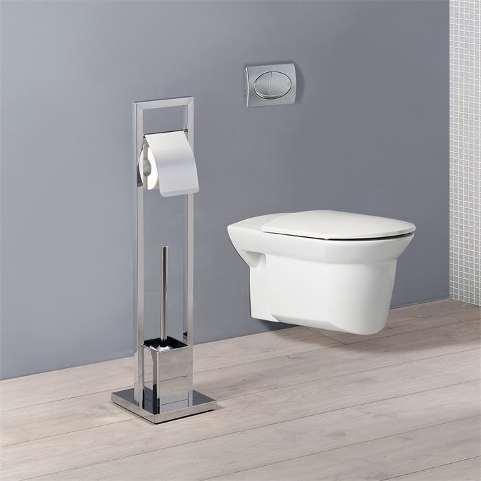 Porte-papier toilette dérouleur TOMA avec brosse WC, chromé