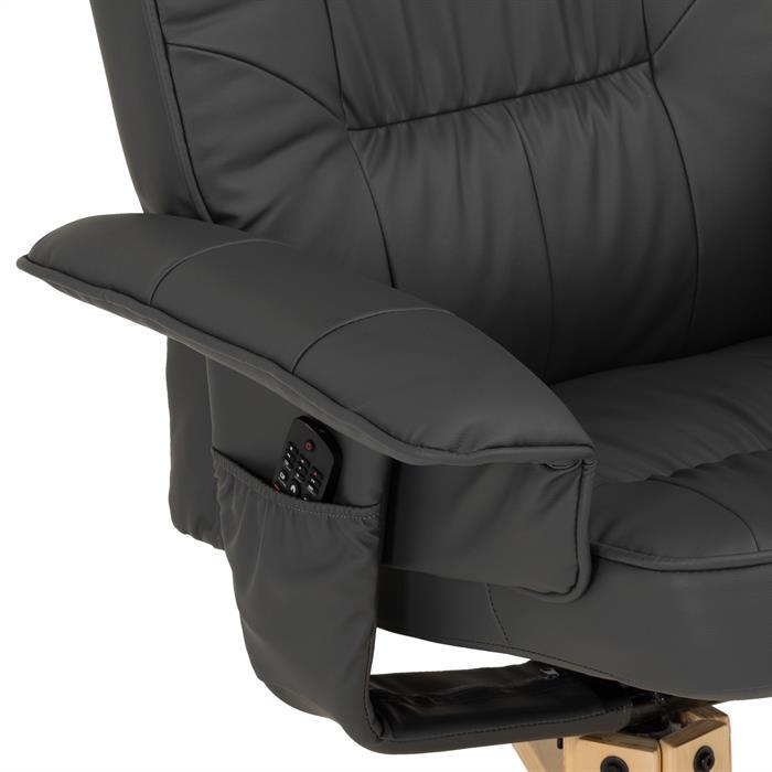Fauteuil de relaxation avec repose-pieds CHARLY, en synthétique gris