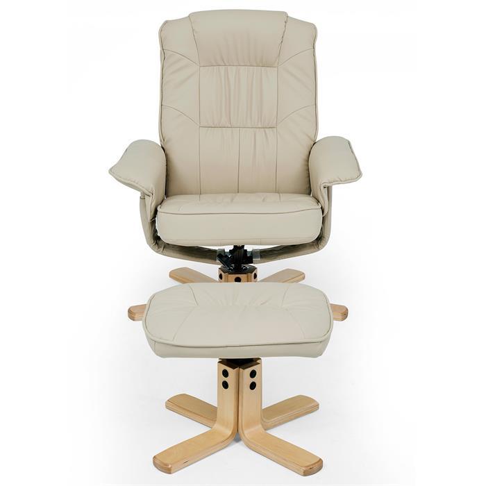 Fauteuil de relaxation avec repose-pieds CHARLY, en synthétique beige