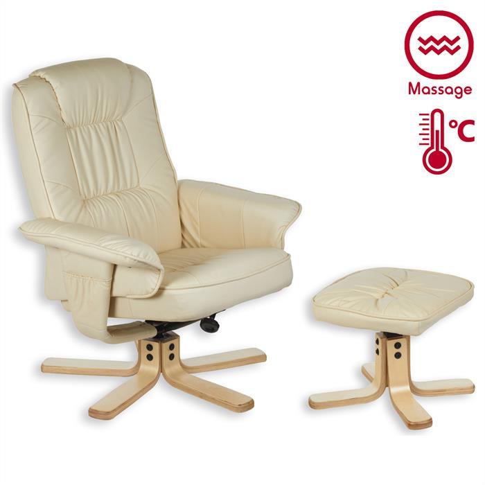 Fauteuil de relaxation massant et chauffant comfort beige - Fauteuil relax massant chauffant ...