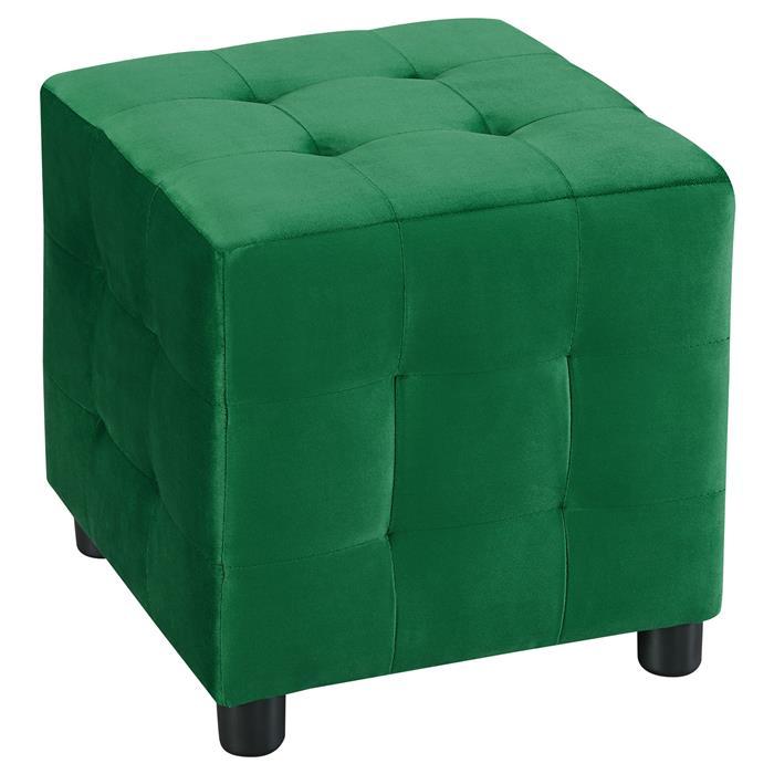 Tabouret pouf cubique BAZAR, en velours vert