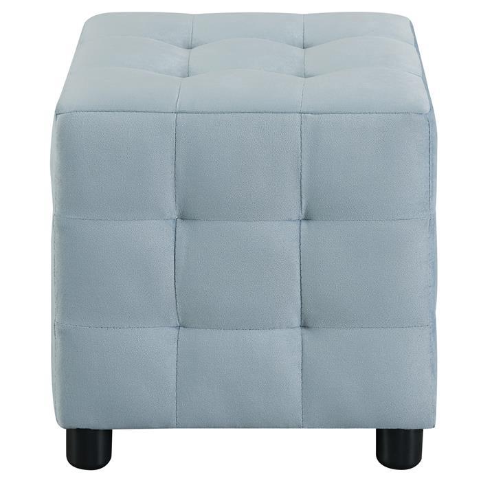 Tabouret pouf cubique BAZAR, en velours bleu clair