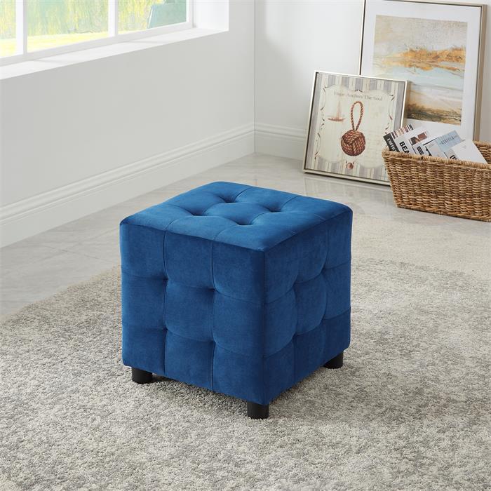 Tabouret pouf cubique BAZAR, en velours bleu foncé