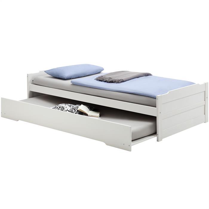 lit gigogne pas cher lorena 90 x 200 cm lasur blanc decorations magazine. Black Bedroom Furniture Sets. Home Design Ideas