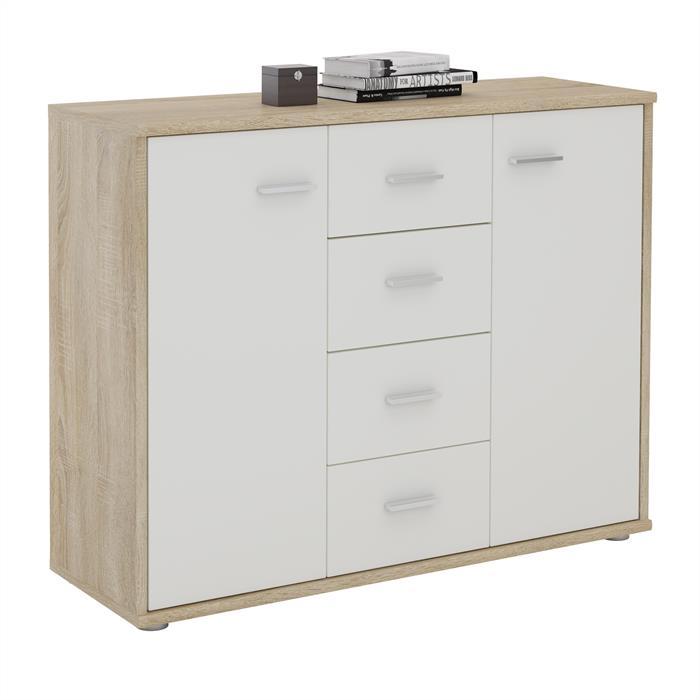 buffet elodie en m lamin d cor ch ne sonoma et blanc mat mobil meubles. Black Bedroom Furniture Sets. Home Design Ideas