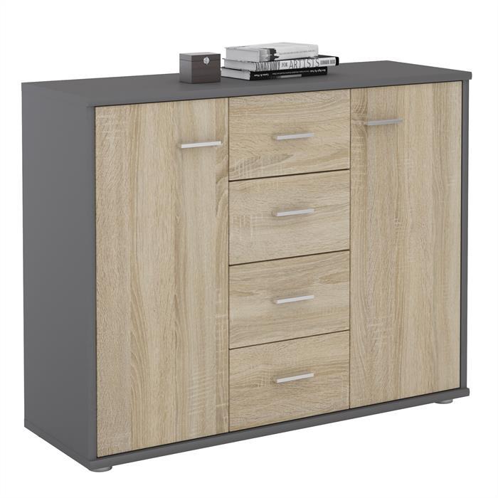 buffet elodie en m lamin gris mat et d cor ch ne sonoma mobil meubles. Black Bedroom Furniture Sets. Home Design Ideas
