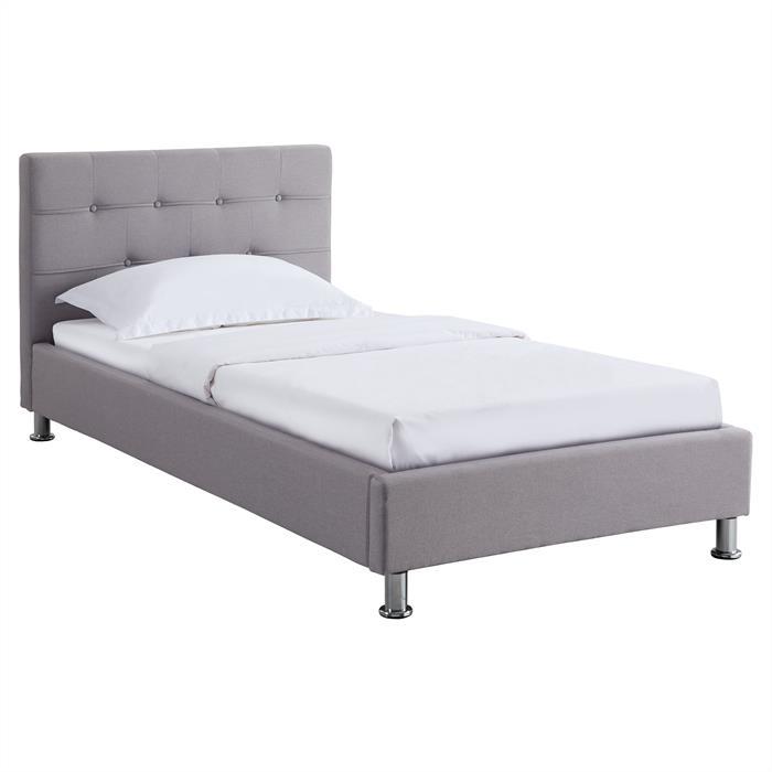 Lit simple NIZZA, 90 x 190 cm, capitonné avec sommier, revêtement en tissu gris