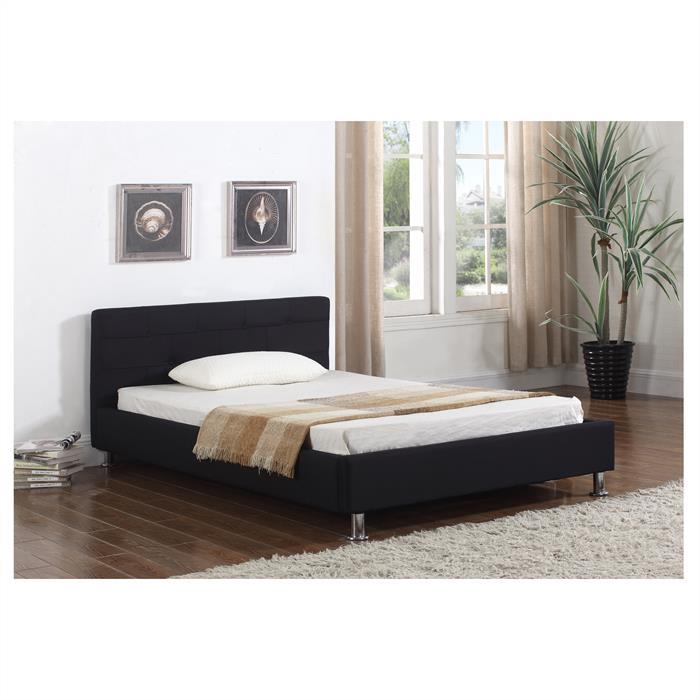 Lit simple NIZZA, 120 x 190 cm, capitonné avec sommier, revêtement en tissu noir