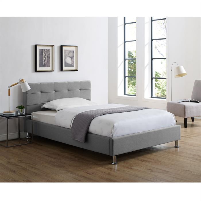 Lit simple NIZZA, 120 x 190 cm, capitonné avec sommier, revêtement en tissu gris