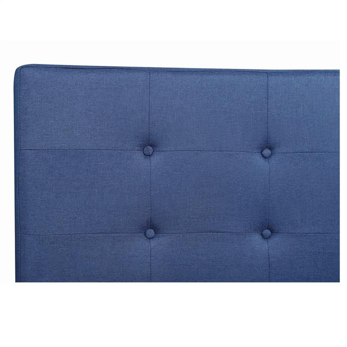 Lit simple LILLE, 120 x 190 cm, capitonné avec sommier, revêtement en tissu bleu