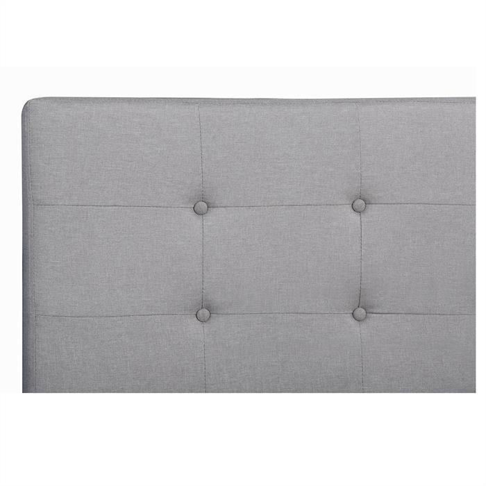 Lit double LILLE, 140 x 190 cm, capitonné avec sommier, revêtement en tissu gris