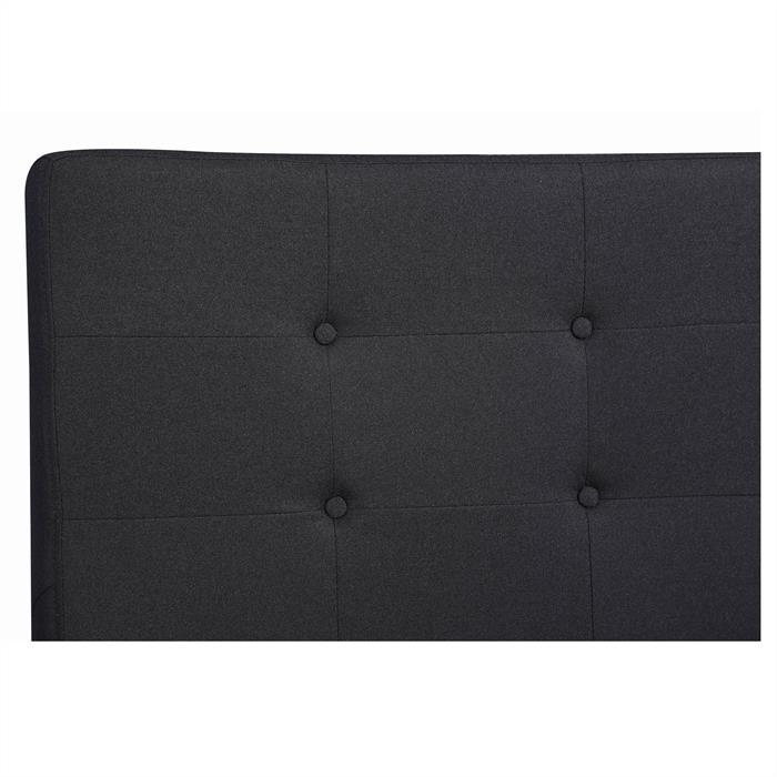 Lit double LILLE, 140 x 190 cm, capitonné avec sommier, revêtement en tissu noir